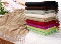 Kaschmirplaid, Wollplaid Riviera, Wolldecke 20% Kaschmir 80% Merino in vielen Farben und 130x190cm / Ausgewählt: Beige