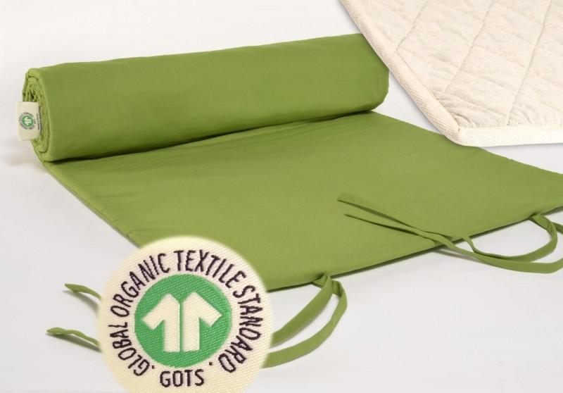Yogamatte Jaipur grün, GOTS, Bezug kbA Baumwolle mit Wollfilz Matte, pure Natur