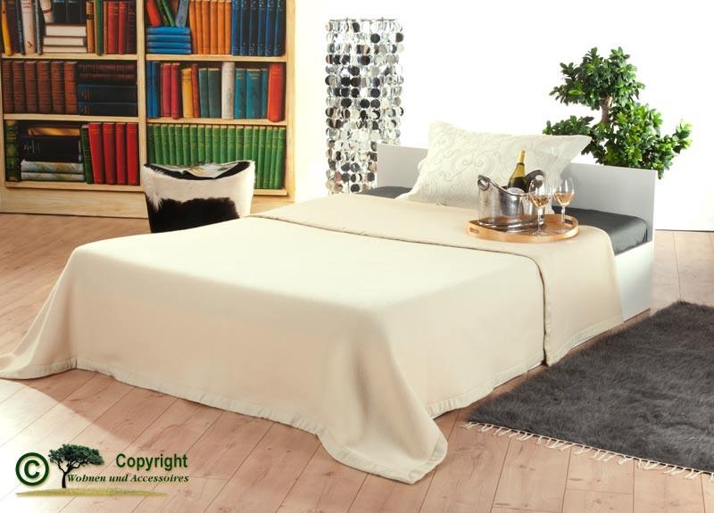 Italienische Wolldecke, Tagesdecke aus 100% Merinowolle in 210x250cm elfenbein-creme