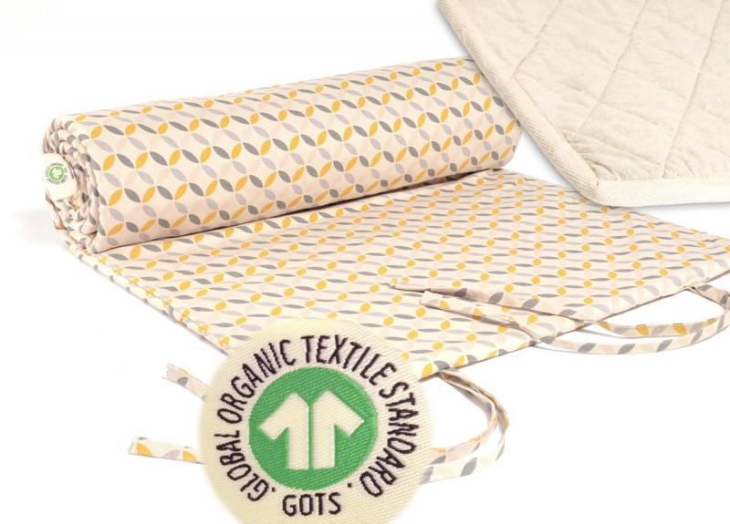 Yogamatte Jaipur gelb-grau gemustert, GOTS, Bezug kbA Baumwolle mit kbT Wollfilz Matte, pure Na