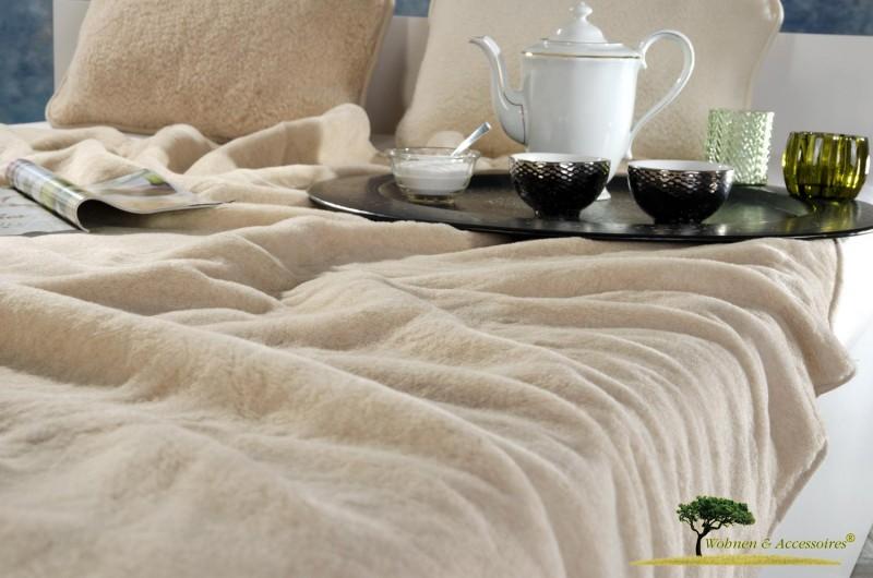 Wolldecke (Bettdecke) Karamell 135x200cm aus 90% Merinowolle und 10% Kamelhaar