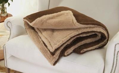 edle und sehr warme doppel wolldecke aus alpaka von steiff schulte in naturbeige und braun. Black Bedroom Furniture Sets. Home Design Ideas