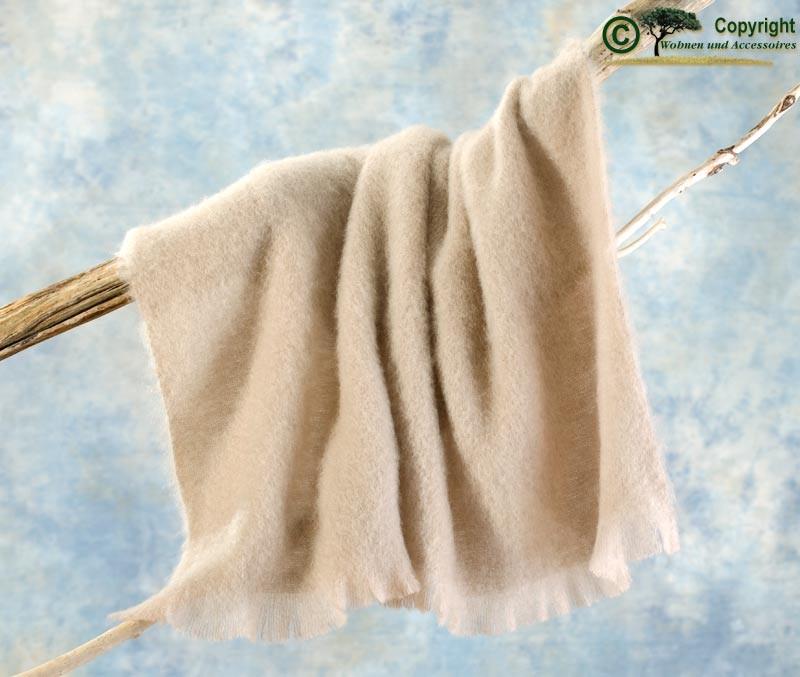 Beste Qualität aus Neuseeland! Luxus Wolldecke aus 100% Mohair, Mohairdecke, Mohairplaid beige