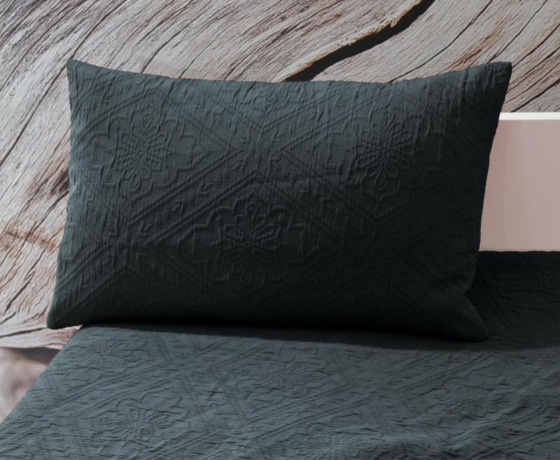 Kissen Faro - Blumenreliefs - anthrazit 30x50cm