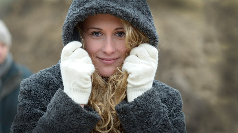 Wollhandschuhe Possum-Merino und Seide, Handschuhe aus Wolle in weiß Größe M
