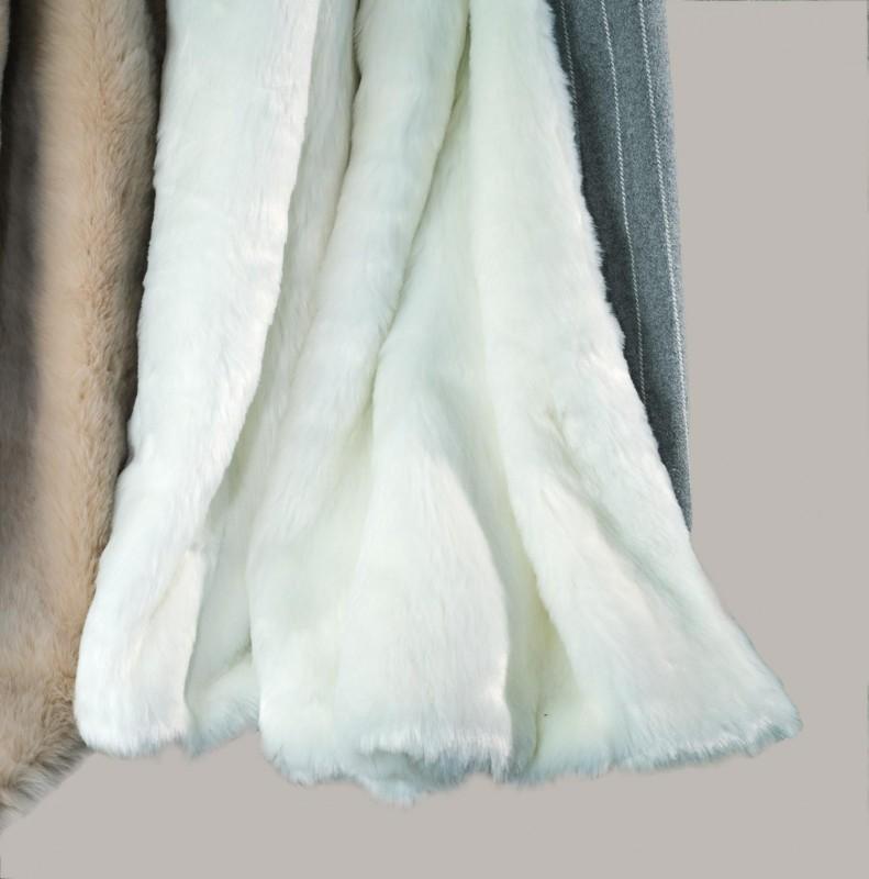 Eskimo - Eskitex Felldecke Orsino weiß, Abseite aus Baumwolle/Acryl Streifen 130x170cm