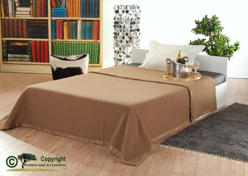 Italienische Kamelhaardecke, weiche Wolldecke aus 100% Kamelhaar in 220x260cm Kamel-braun