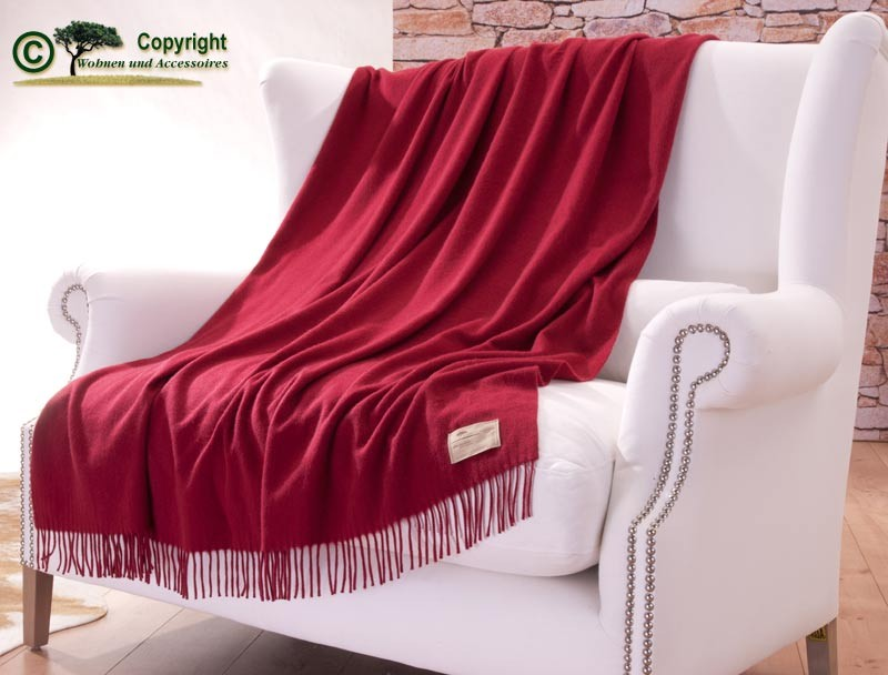 Luxuriöse Kaschmirdecke Perlmutt 130x190 cm aus 100% Kaschmir mit Wasserglanz, Wolldecke in rot