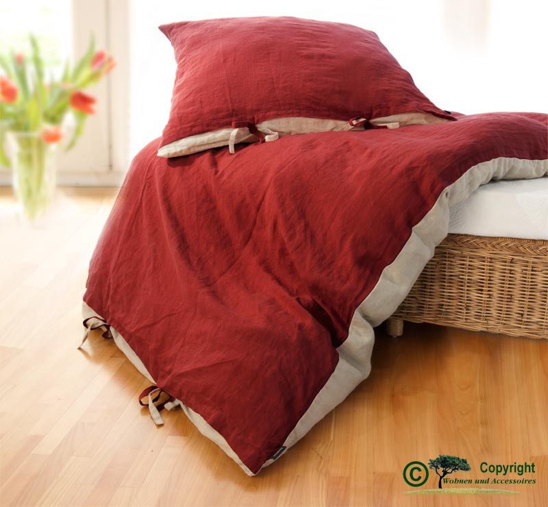 Französische Leinen-Bettwäsche, Bettbezug 140x200cm aus 100% Leinen rot