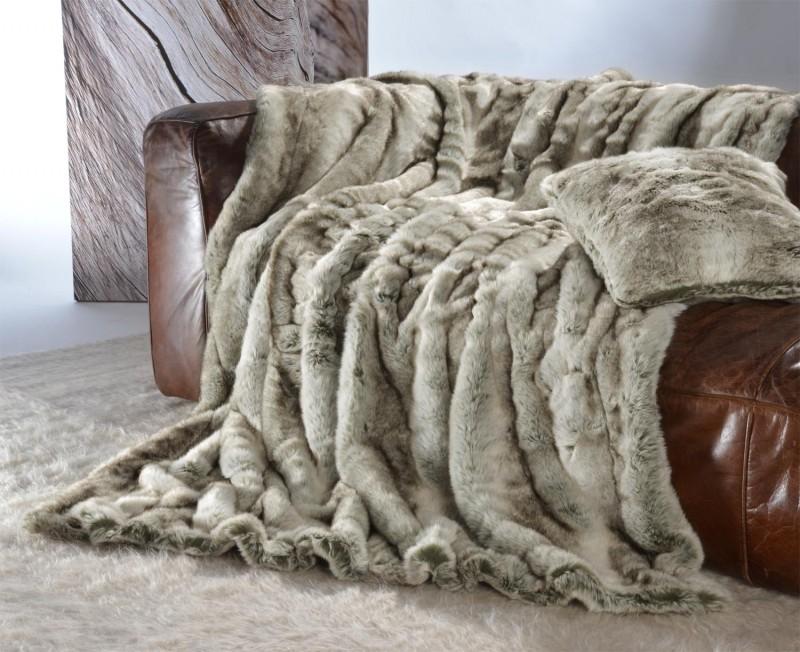 Felldecke (Webpelzdecke) Grauwolf grau-beige 170x220cm - Premium superfein