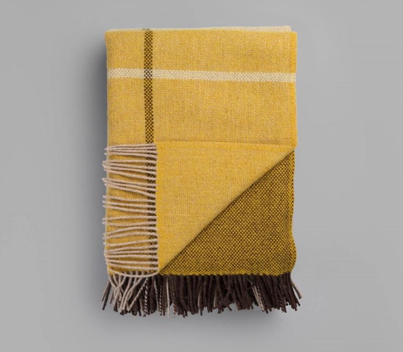 Wolldecke, großes, gelbes Fransenplaid FILOS von Røros aus Lammwolle 145x220cm