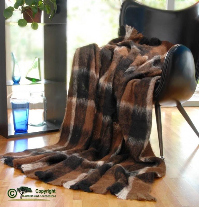 Beste Qualität aus Neuseeland! Wolldecke Holly aus Alpaka super weich wie Kaschmir braun schwarz