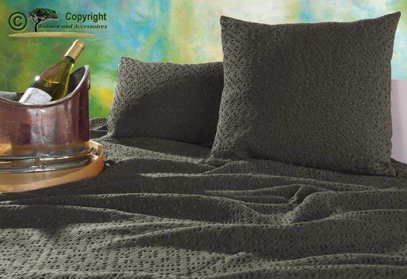 Kissen 45x45cm Adele mit Ajour Muster in grau-braun