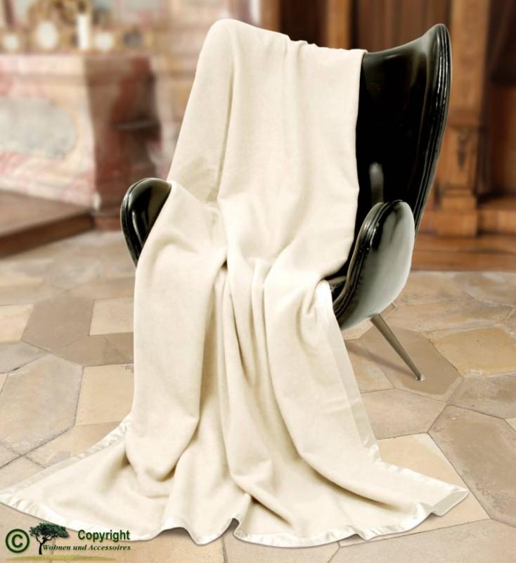 Großartige Kaschmirdecke, eine wunderbare Wolldecke aus Kaschmir 220x220cm in wollweiß