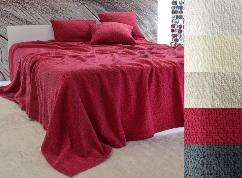 Tagesdecke Coimbra - Kreuzstich Ornamente - rot 180x260 - 260x300cm