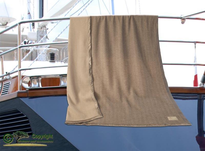 AKTION 100% Kaschmirdecke Portofino mit Seidenband, Wolldecke Doubleface mit Fischgrat 150x200cm