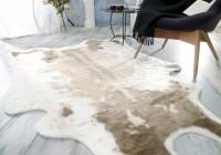 Kuhfell Teppich, Fellteppich hellbraun aus Kunstfell, elegant und flauschig