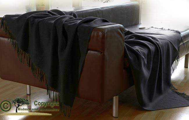 Edles schwarzes Wollplaid von Ritter, Wolldecke schwarz 100% Merino-Lammwolle 130x180cm