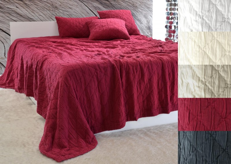 Tagesdecke Aveiro - Rautenmuster - bordeaux rot 180x260 - 260x300cm