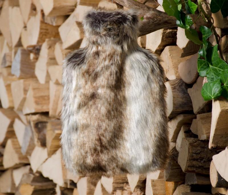 Wärmflaschenhülle aus Fell (Webpelz) Wolf grau-braun mit Naturgummi Wärmflasche