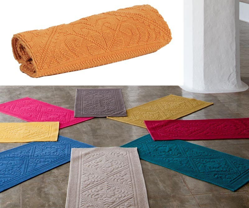 Badteppich Badematte Badvorleger 110x54cm In Gelb Orange