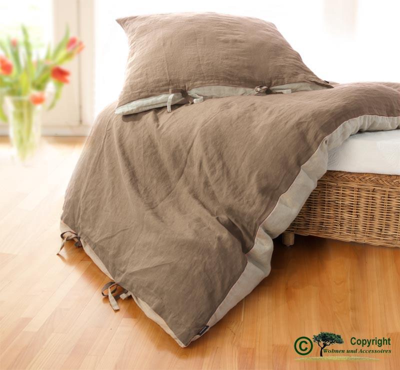 Französische Leinen-Bettwäsche, Bettbezug 140x200cm aus 100% Leinen braun