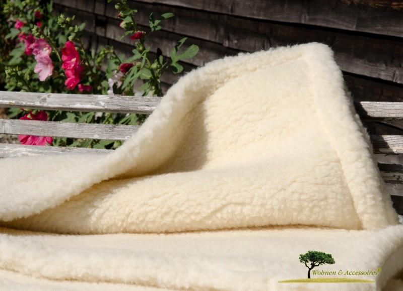 Dicke Doppelwolldecke creme-beige Fuchsschafwolle 150x180cm