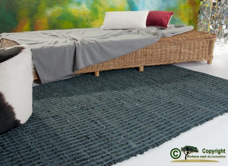 """AKTION Lederteppich, Webteppich, """"Flickenteppich"""" oder """"Fleckerteppich"""", Vorleger aus Leder 120 x 18"""