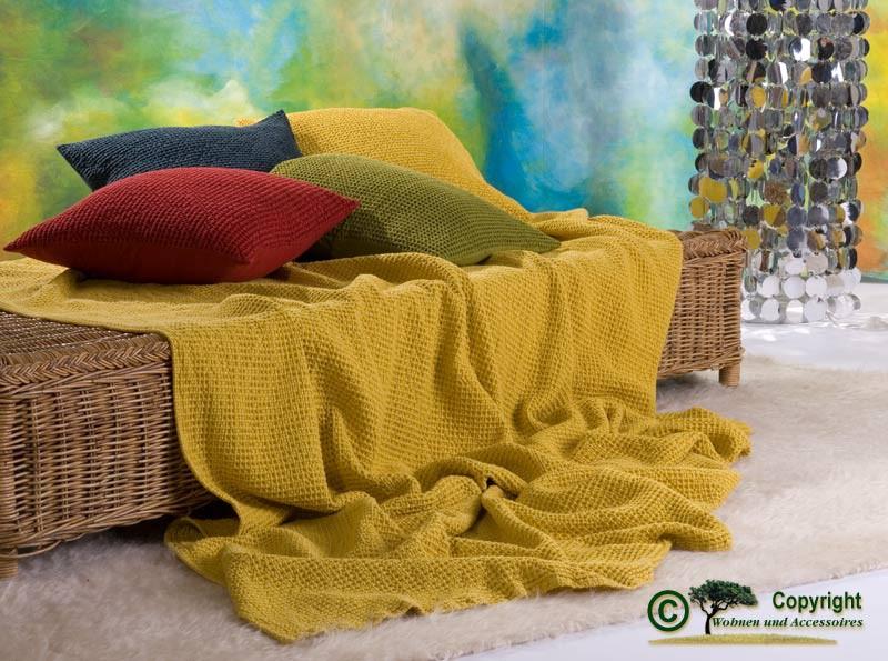 Hübsche französische Tagesdecke Maia mit toller Struktur gelb 180x260