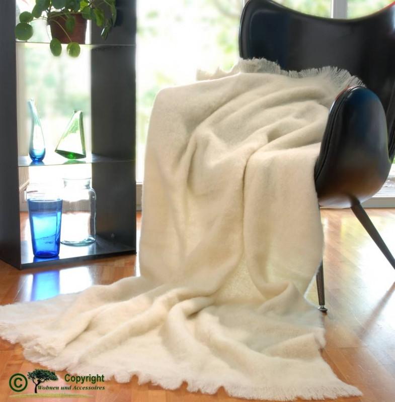 Beste Qualität aus Neuseeland! Wolldecke Molly aus Alpaka super weich wie Kaschmir wollweiß / weiß