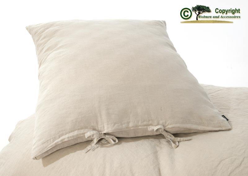 Französische Leinen-Bettwäsche, Kissenbezug 80x80cm aus 100% Leinen natur-farben