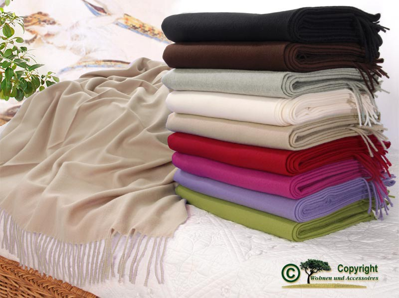 Kaschmirplaid, Wollplaid Riviera, Wolldecke 20% Kaschmir 80% Merino in vielen Farben und 130x220cm