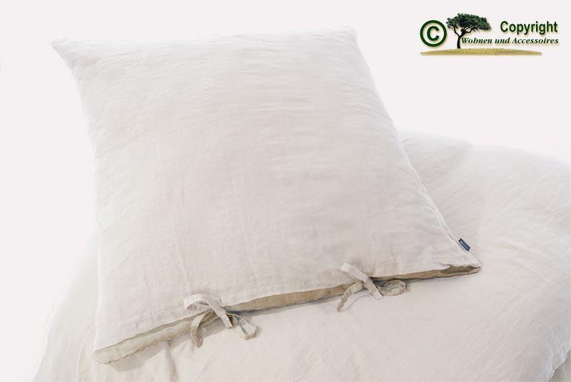 Französische Leinen-Bettwäsche, Kissenbezug 80x80cm aus 100% Leinen weiß