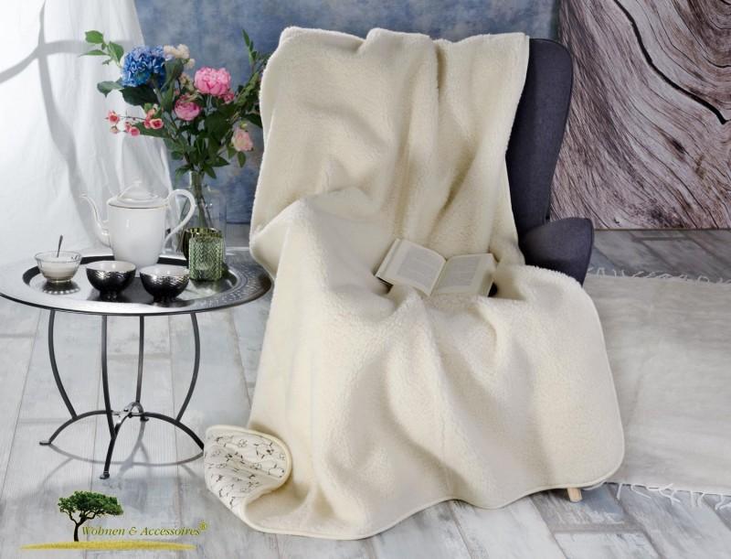 Wolldecke (Bettdecke) Alpen 135x200cm aus 100% Merinowolle, Rückseite 100% Baumwolle