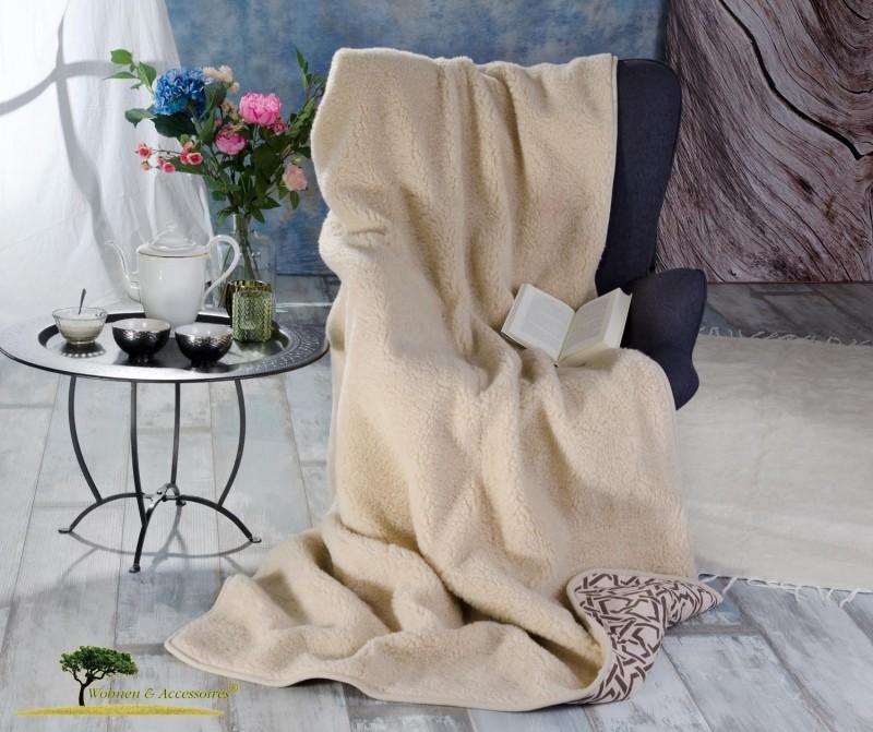 Wolldecke (Bettdecke) Elada 135x200cm aus 100% Merinowolle, Rückseite 100% Baumwolle