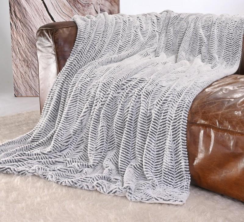 Kuscheldecke Felloptik weiß-dunkelgrau 150x200cm
