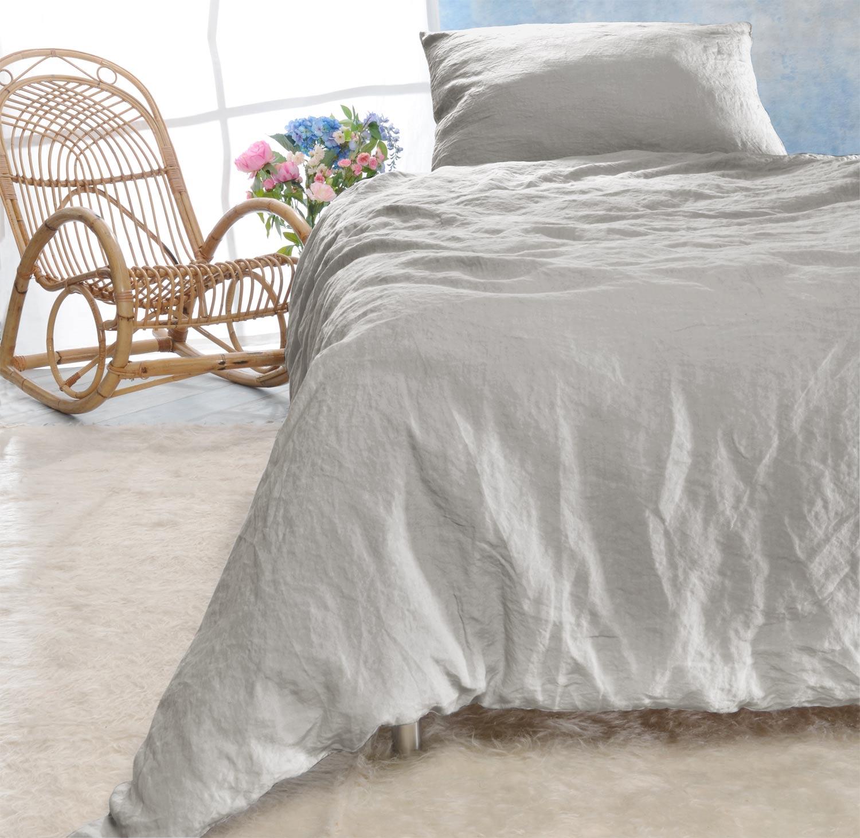 leinen bettw sche set sintra platingrau 100 leinen hergestellt in portugal bettw sche aus. Black Bedroom Furniture Sets. Home Design Ideas