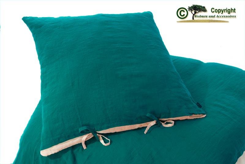 Französische Leinen-Bettwäsche, Kissenbezug 80x80cm aus 100% Leinen petrol