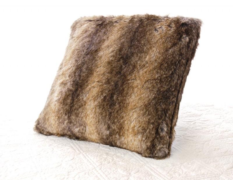 Fellkissen (Webpelzkissen) Otter braun in 45x45cm