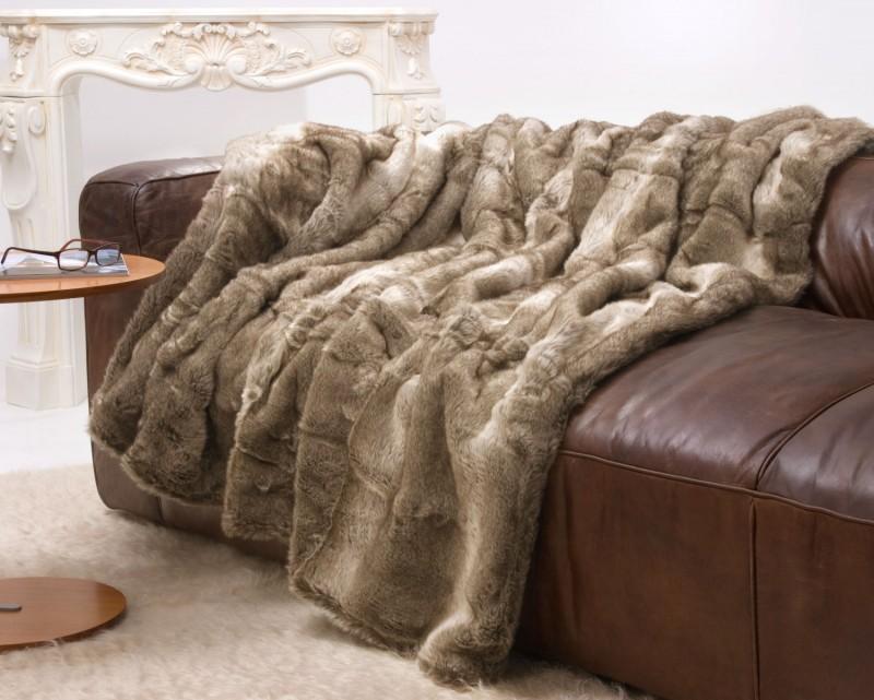 Felldecke (Kunstfell) Bär braun-creme mit grauem Unterfell - 5 Größen - 150x200 bis 260x300cm
