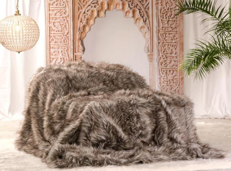 Felldecke (Webpelzdecke) Grizzly in braunen und grauen Tönen 170x220 cm