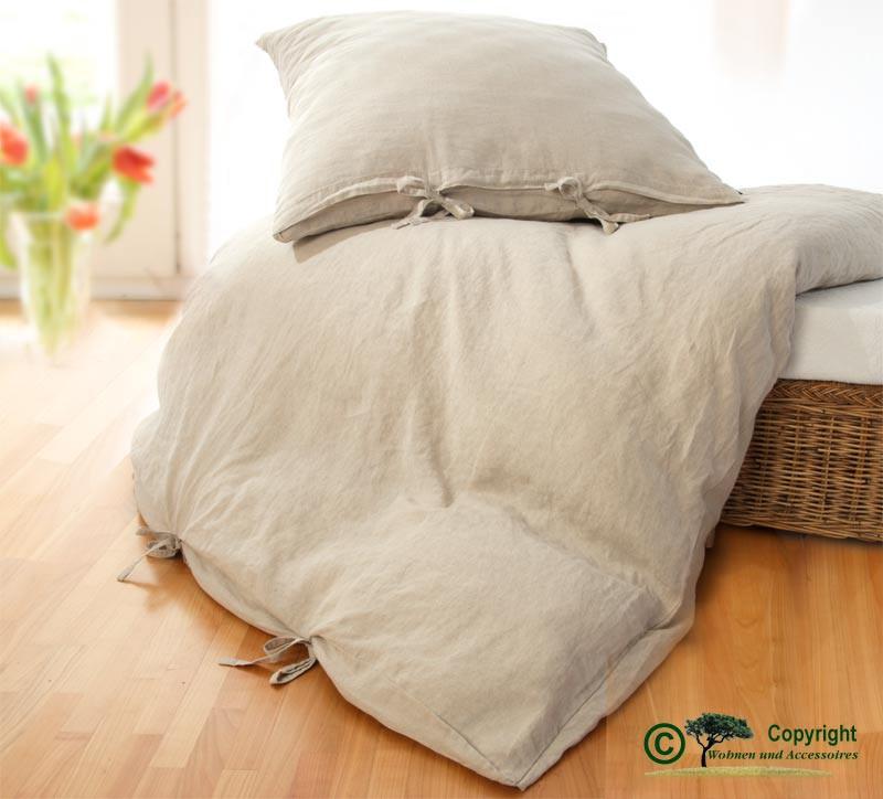 Französische Leinen-Bettwäsche, Bettbezug 140x200cm aus 100% Leinen natur